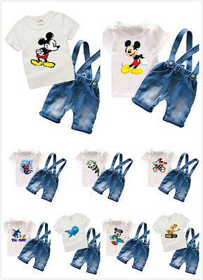 2pcs Toddler Baby Boys Kids Shirt Tops+ Belt pants Clothes Outfits Gentleman Set