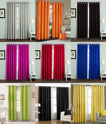 New Thermal Block Out Lined Curtains Eyelet Ring Top Colours All Best Sizes  Ava