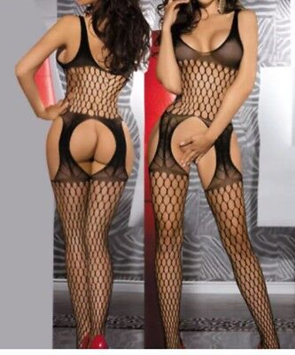 OS A82 Black Stripperwear, Exotic Dancer Stripper Clothes Body Stocking Fishnet