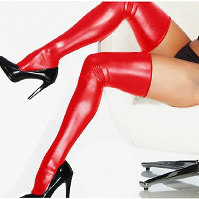 Women Sexy Thigh High Latex Catsuit Stockings + Thongs G-String Glam Salable