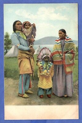 American Indian Family Mother Father 2 Children Native Americana Postcard