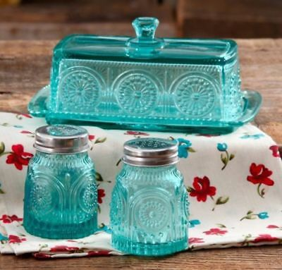 Pioneer Woman Adeline Teal Pressed Glass Butter Dish Salt Pepper Shakers NEW
