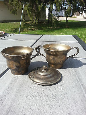 World Silver on Copper Cream and Sugar Bowls with Lid - Great Patina