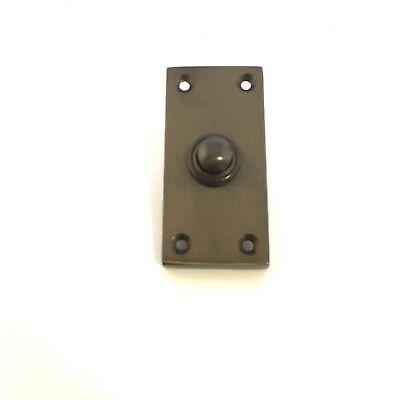 Solid Dull Bronze Victorian Door Bell Chime Push Button Press - 38mm x 76mm