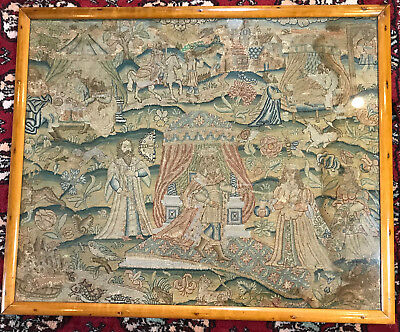 English Needlework Picture Fine Silk Embroidery Esther and King Ahasuerus C1630