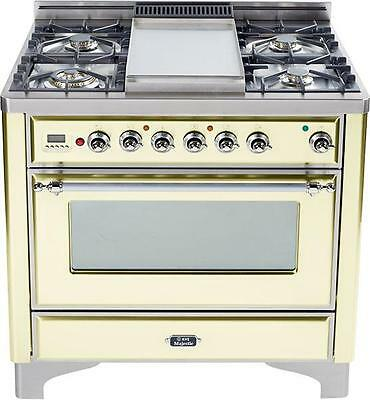 """Ilve UM90FDVGGAX Majestic 36"""" Pro Gas Range Oven With Griddle Antique White"""