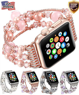 For Apple Watch Bling Agate Beads Strap Bracelet Band For iWatch 3/2/1-42mm/38mm