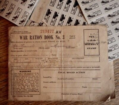 WW2 USA War Ration Book Vintage Military Collectible WWII Home Front faint print