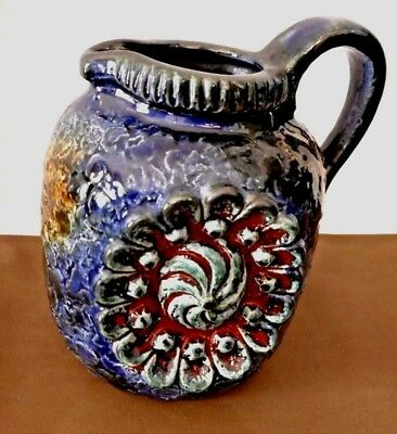 RARE German Relief 53/14 Blue Reds Beautiful Pitcher Art Vintage Germany Pottery