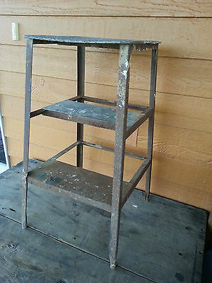Old Vintage Industrial Metal Stool Rustic Primitive Furniture Shabby Flea Decor