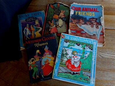 Lot of 5 Antique Vintage Victorian Childrens Books Salvaged Little Bunnies etc