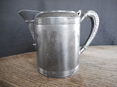 Antique Vintage Primitive Shabby Farm Decor Country Flea Market Silver Pitcher