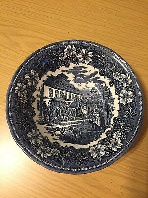 "9"" Round Vegetable Bowl in Coaching Taverns Blue by Royal Tudor Ware1828"