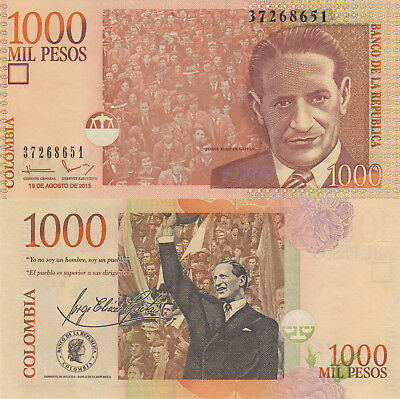 Colombia 1000 Pesos (19.8.2015) - Crowd cheering Gaitan/p456t UNC