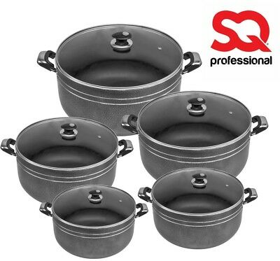 5pc Una Non Stick Die Cast Deep Casserole Stockpot Cooking Pan Set Glass Lid