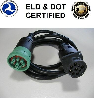 CAN/J1939/J1708/1587 Green type 2 to Black 9 pin diagnostic extension cable ELD