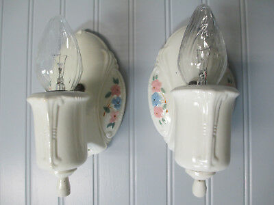 Vintage Antique Art Deco Porcelain Wall Sconces Rewired Pink Blue Floral