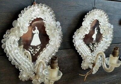 Antique 1920 Etched Mirror Murano Glass Flowers Venetian Man & Woman Sconces