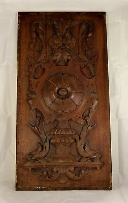 GOTHIC PANEL Antique French Architectural Hand Carved Wood Dolphin Triton Rosace