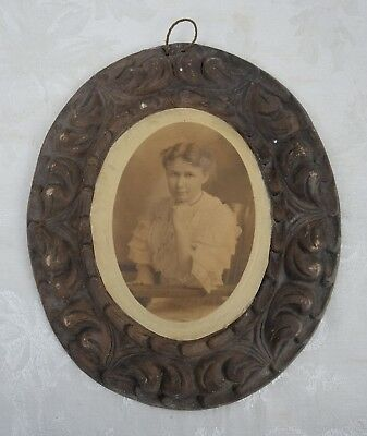 Antique 19th Century Photograph in Mexican Folk Art Clay Picture Frame