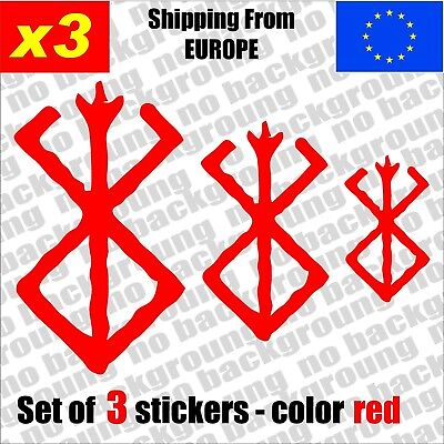 Set of 3 - Berserk Brand of Sacrifice  Vinyl Decal Sticker Aufkleber Die-Cut