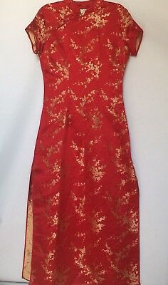 VTG Victoria's Secret Cheongsam Quipao Large Red/Gold Chinese Evening Long Dress