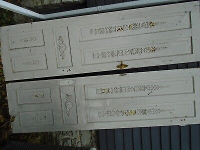 "Pair Vintage Antique French Painted Solid Wood Doors 93"" x 25 1/2"", 93 x 26 1/4"""