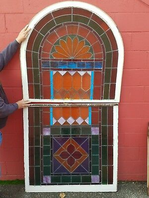 """Vtg Architectural 1870's Nice Church Stained Glass Window  47"""" Wide X 88"""" Tal"""