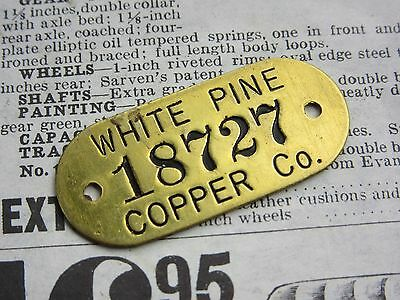 Antique White Pine Copper Michigan Brass Metal Tag Vintage Industrial Jewelry