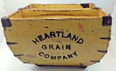 Antique Rice Bucket Wood & Metal Dovetail Edges Grain Pail Heartland Grain Compa