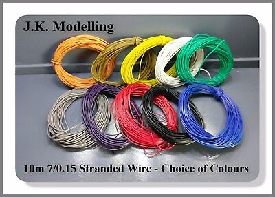 10 Meters 7/0.15 mm 26AWG Stranded Cable - Choice of 10 Colours