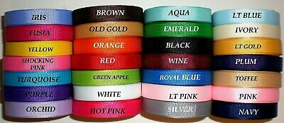 "Grosgrain Ribbon Solid Colors  3/8"" Inch 5 Yards Of One Color. U pick"
