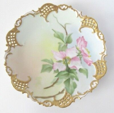 Antique Leonard Vienna Austria Hand Painted Scalloped Reticulated Plate 7 1/8""