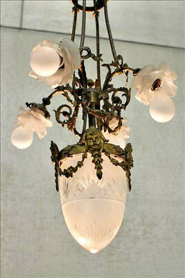 XL French antique Bronze putti heads Louis XVI Chandelier Crystal acorn shade