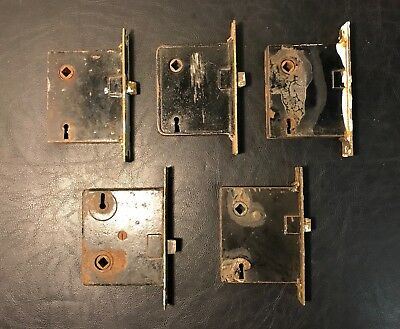 VINTAGE ANTIQUE MORTISE LOCK LOT Of 5 w/ Brass Front Plates