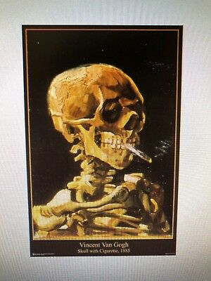 Vincent Van Gogh Skull With Cirgarette 24X36 Poster Post Impressionist Dutch New