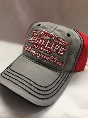 Miller High Life Beer Hat Gray/Red The Champagne of Beer Wisconsin Sample New