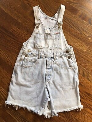 guess by george marciano overalls cut off shorts bleached jean made in U.S.A.