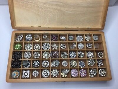 Vintage Lot Of 60 Crystal, & Assorted Color Rhinestone Buttons