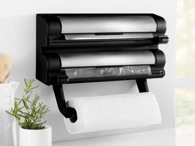 Ernesto Stainless Steel Kitchen Roll Foil And Cling Film Dispencer Storage New