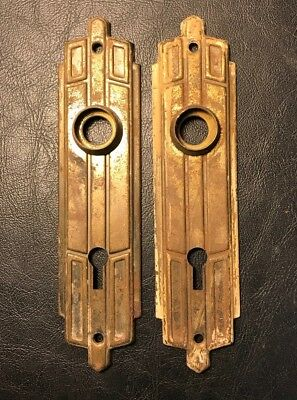 Pair of Vintage Art Deco Brass Skeleton Key Door Back Plates
