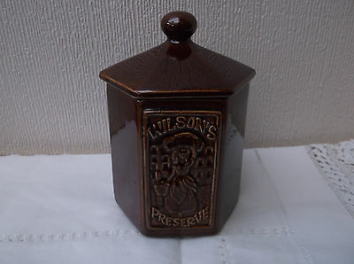 Wilson's Preserve pot - Brown Ceramic with 6 sides