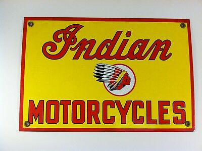 Vintage Porcelain Indian Motorcycles Sign nice color and Logo