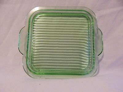 Vintage green square depression/ribbed glass plate.