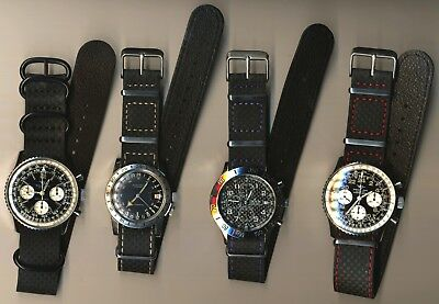 GENUINE CARBON FIBER LEATHER NATO G10 WATCH STRAP MULTIPLE COLORS 20mm 22mm 24mm