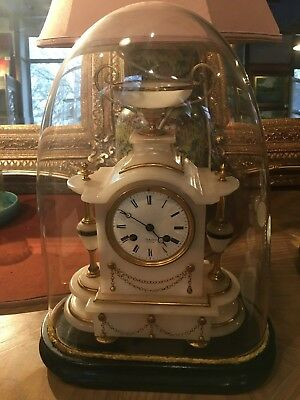 French Fine Alabaster Mantle Clock Contained in Own Glass Display Circa 1875