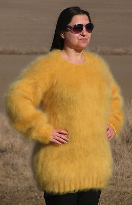 MOHAIR Hand Knitted YELLOW Sweater Fluffy Fuzzy Pullover Unisex Handmade Soft