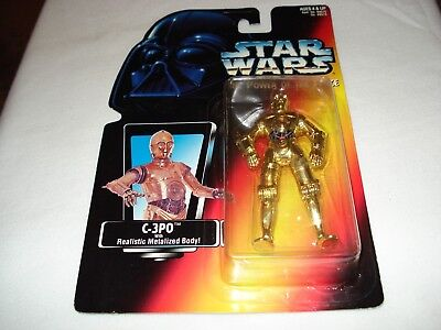 """Star Wars 1995 The Power Of The Force """"c-3Po"""" Metalized Body, Orange Card"""