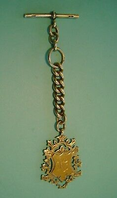 """Antique Silver Albert Pocket Watch Chain """"1898"""" With Silver And 9ct Gold Fob"""
