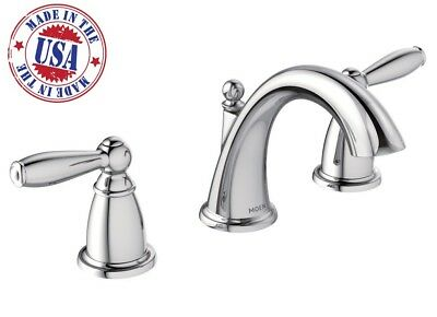 Moen Bathroom Faucet Widespread Chrome Two Handle Low Arc Brantford 8 To 16  Inch